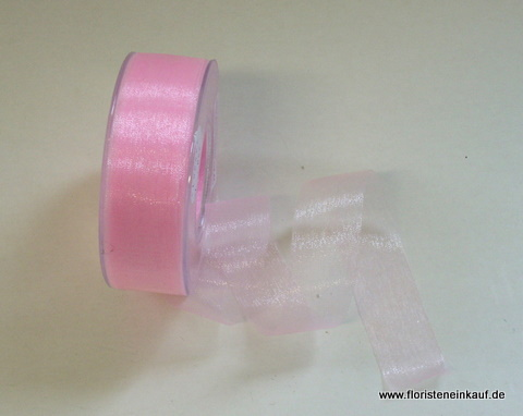 Organza-Band, 25mm / 50yds, bonbonrosa
