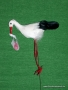 Storch m.Baby am Draht, 15cm
